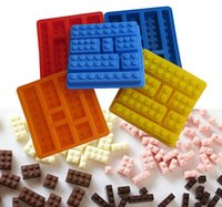 Wholesale Silicone Cake Moulds Wholesale - Square Lego Toy Brick Shape Silicone Fandont Chocolate Mold Ice Cube Mould Cake Bakeware Cake Tools