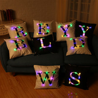 26 Letras Criação Led Light Luminous Pillow Case Letters Pillow Case Sofa Car Decor Coxim 45 * 45cm