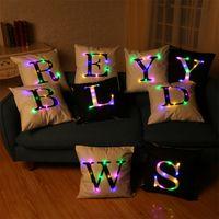 Wholesale 26 Led - 26 Letters Creation Led Light Luminous Pillow Case Letters Pillow Case Sofa Car Decor Cushion 45*45cm