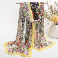 Wholesale Chiffon Scarf For Dress - HWJ118 WOMEN Fashion Colorfull Sun Shade Long Scarf 7Colors Printed Scarves Cute Beach Towel Fit for Dress.30pcs lot Free Ship