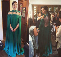 Wholesale Emerald Wedding Dresses - 2016 Emerald Green Chiffon Formal Dresses Open Backless Arabic Evening Prom Gowns A Line Cap Sleeves Wedding Party Dresses Custom Made