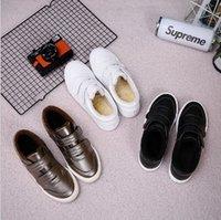 Wholesale Velcro Hook Loop Strap - New cotton shoes female winter plus cashmere students white shoes Korean wild flat warm Velcro snow boots female
