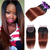 Pacotes de cabelo virgem da Malásia com fechamento 1B 33 Ombre Straight Hair Weave com 4X4 Free Middle Part Straight Lace Closure