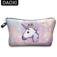 Barato Sacolas De Unicórnio-Atacado- DAOXI Unicorn Cosmetic Bags 3D Printing Women Necessary for Travel Storage Makeup