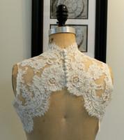 Wholesale Short White Bolero - Fashion High Neck Ivory Short Lace Bridal Jacket Sleeveless Custom Made Wedding Wrap Bridal Accessories For Wedding Dress