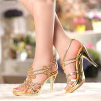 Wholesale Sexy Platform Wedding Sandals - Spring Summer Rhinestone Ankle Strap Sandals Women High Heel Sexy Open Toe Wedding Shoes 4 Inches Platform Formal Dress Shoes