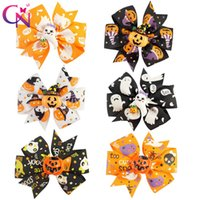 "Wholesale Grossgrain Ribbons Bows - 30 Pieces  Lot 3 ""Halloween Hair Bows With Clip For Kids Girls Princess Pinwheel Grossgrain Ribbon Bows Hairpin Hair Accessories"