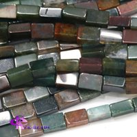 Natural Genuine Fancy Jasper Índia Agate Square Rectangle Shape Loose Stone Beads Fit Jewelry DIY Colares ou pulseiras 03762