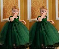 Wholesale Girl Fluffy Sleeve - 2015 Hunter Green Toddler Girl Dresses Fluffy Tulle Ruched Flower Girl Dresses Floor Length Cap Sleeve Long Wedding Party Princess Gowns