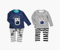 Wholesale Owl Pcs Set Baby - Baby Clothing Set Outfits Long Sleeve Cartoon Owl Pattern Tops Hooded + Striped Pants 2 pc Suits Velvet Autumn Warm Sets Grey A7828