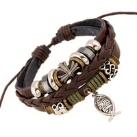Wholesale Leather Drawstring Bracelets - 2016 Factory outlets New women beaded leather bracelets fish Pendant Bracelet Fashion Drawstring Process Woven Bracelet