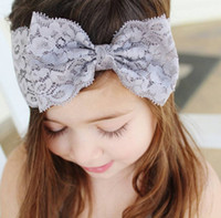 Wholesale Lace Ribbon Decorations - Mix 7 Colors Baby Cute Bow Lace Headbands Christmas gift Party Decoration Girls Hair Ribbons Head bands Children Hair Accessories