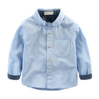 Wholesale british dress shirts - Wholesale-free shipping 2015 new children's baby blue and white striped shirt cotton dress shirts British style autumn handsome boys 60