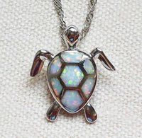Wholesale Brass Turtle - Lovely Sea Turtle White   Blue Fire Opal Pendant Necklace For Lady