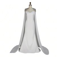 Wholesale collections photos - Fashion Celebrity White Carpet Dress With Cape Floor Length Free Shipping 2017 Winter Collection Mermaid Style Evening Gown