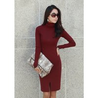 Wholesale New Korean Women S Dresses - New Korean Women Dress Turtle Neck Long Sleeve Split Design Slim OL Lady Bodycon Knit Dress