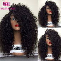 Wholesale Lace Front Wigs Brazillian Hair - 2015 New fashion party virgin wigs brazillian hair women Human wigs 150% density Lace Front wigs   full lace wigs long curly