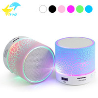 Wholesale Speaker Pc Subwoofer - For Iphone 8 X New LED MINI Bluetooth Speaker A9 TF USB FM Wireless Portable Music Sound Box Subwoofer Loudspeakers For phone PC with Mic