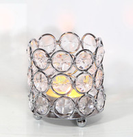 Wholesale Metal Crystal Candle Holder - Crystal beaded bling votive candle holder tealight holder for wedding decor, home decor, gifts size: 6,5x6,5x7,5cm HWB-2603