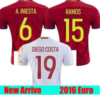 Wholesale Camisetas Nylon - Whosales Spain jersey 2016 Euro Cup Espana Soccer Jerseys Shirt FABREGAS Camisetas De Futbol 2017 Soccer Jerseys Free Shipping Thai Quality