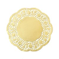 Paper Craft merletto Doilies rotonda Golden Flower modello 14 centimetri x14cm (5 4/8