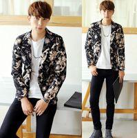 Wholesale Korean Urban Jacket - Wholesale-Free shipping ! Autumn korean england winter print suits jackets man casual fashion suit mens blazers short coats modern urban