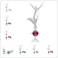 Wholesale Wings Charm Cheap - Cheap White Gold Plated Austrian Crystal Jewelry Sets Fly Angel Wings Charms Necklace Round Crystal Stud Earrings Wedding Jewelry Sets