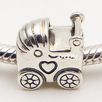Wholesale Baby Jewelry Bead Glass - 100% 925 Sterling Silver Thread Baby Carriage Charm Pendant Bead Fits European Pandora Jewelry Bracelets & Necklace