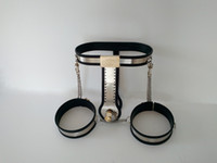 Wholesale Chastity Devices Handmade - Adjustable Female Chastity Belt with Thigh Cuffs Handmade Chastity Device for Women with Vagina Anal Plug Sex Toys