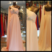 Wholesale Cheap Silver Charm Beads - 2016 Charming One Shoulder Pink Chiffon Bridesmaid Dresses Empire Waist Ruched Beaded Cheap Bridesmaid Dress With Shawl