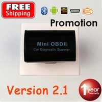 Wholesale Cheapest Obd2 Scanner - Wholesale-V2.1 OBD2 Code Reader Super MINI ELM 327 Car Scanner ELM327 OBDII Bluetooth Cheapest Auto Adapter FREE SHIPPING and promotion
