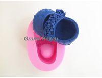 Wholesale Silicone Fondant Shoe Mould - Baby Flower Shoe Shaped Silicone Soap Mold Cake Decoration Fondant Cake 3D Mold Food Grade Silicone Mould