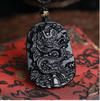 Wholesale Chinese Dragon Pendants - 2016 Fine carving Chinese natural black A obsidian carved dragon black jade pendant