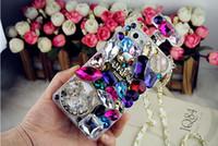 Wholesale Diamond Logo Iphone - 2016 Unique case Bling Colorful Rhinestone case Luxury Logo diamond perfume cover case for iphone 4S 5 5s 5c 6 6plus 7 7plus