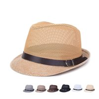 Wholesale Hat Custom Man - Wholesale-Brand New Custom Hollow Grid Solid Jazz Men and Woman Laady Leisure Visor Hat Fedoras Straw Hats