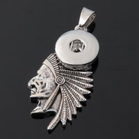Wholesale Chief Pendant - 2016 New Hot Style Indian chief 18mm button NOOSA Ginger Snap Charms Jewelry Interchangeable Jewerly Crystal Pendants Necklace 093