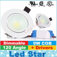 luminoso techo empotrado luces led al por mayor-Super brillante regulable 9W LED Downlight COB techo luces empotradas caliente Natrual blanca fría Iluminación de interior 110-240V AC