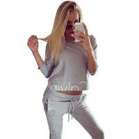 Wholesale American Football Costume - 2017 Tracksuit Women Sport Suit Hoodies Sweatshirt+Pant Jogging Female Costumes Marque Survetement Sportswear 2pc Set print sex Brand