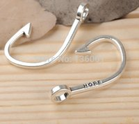 Wholesale Word Charms Floating Locket - 100PCs Vintage Silver Hope Word Fishhook Dangle Alloy Floating Locket Pendant Charms Pendant Fit Bracelets Fashion Jewelry Findings DIY X913