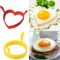 Wholesale Fried Egg Rings Free Shipping - New Year Hot Creative Round Heart Kitchen Silicone Egg Frier Fried Pancake Ring Mould Tool Free Shipping
