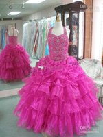 concurso para la venta al por mayor-2015 venta caliente halter beads Little Rosie fucsia vestido del desfile de los niños niña de flores fiesta de baile vestidos de noche