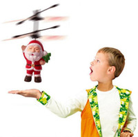 Wholesale Christmas Electric Santa - Santa Claus Electric Infrared Sensor Flying Ball Father Christmas Inductive Aircraft Helicopter Flying Toys Christmas Gift OOA3488