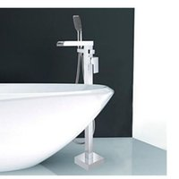 Wholesale And Retail Luxuty Waterfall Tub Faucet Floor Mounted Tub Filler W Hand Shower Chrome Brass