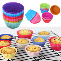 Wholesale Silicone Baking Molds Muffin - Hot sale! Round shape Silicone Muffin Cupcake Mould Case Bakeware Maker Mold Tray Baking Cup Liner Baking Molds
