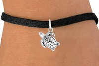 Wholesale Rope Belt White - 30pcs lot Fashion Turtle Charms Bracelets Leather Rope Black Cord Bangles DIY Jewelry Belt Charm