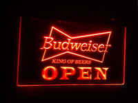 Wholesale Budweiser Led Sign - b-27 OPEN Budweiser Beer NR Pub Bar LED Neon Light Signs