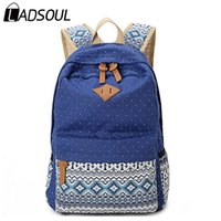 Wholesale Vintage Preppy Backpacks For Girls - Ethnic Women Backpack for School Teenagers Girls Vintage Stylish Ladies Bag Backpack Female Purple Dotted Printing High Quality