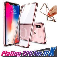 samsung s6 açık mobil kutu toptan satış-Ultra İnce Elektro Kaplama Yumuşak Temizle TPU Kılıf Iphone X 10 8 7 Artı Samsung s8 not 8 s7 s6 kenar Arka Kapak Cep Telefonu Kılıfları