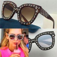 Wholesale Large Cat Eye Sunglasses - New Sale Designer Sunglasses Charming Cat Eye Large Frames Cut Diamonds Small Diamonds Woman Fashionable Style TOP Quality 0116
