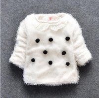 Wholesale Pullover Child Female - Children children's clothing wholesale qiu dong outfit girls female baby wool sweater MAO qiu lapel woollen sweater BH1099